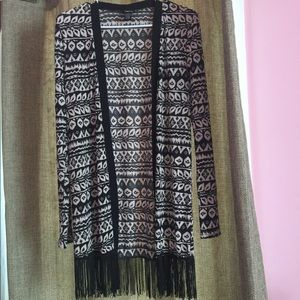 Rue 21 patterned/fringe cardigan